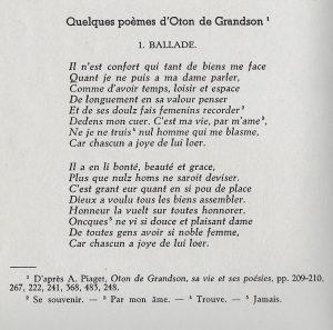 Une reproduction d'un poème d'Othon III de Grandson