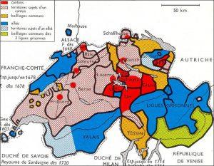 Carte de la Suisse vers 1650